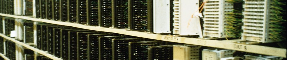 A main distribution frame at a BT telephone exchange in Birmingham