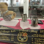 Alan Turing's teddy bear Porgy and King's College rowing oar at Bletchley Park