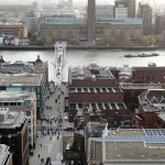 Millennium Bridge from St Paul's Cathedral - Salvation Army HQ and 101 Cafe is mid-left