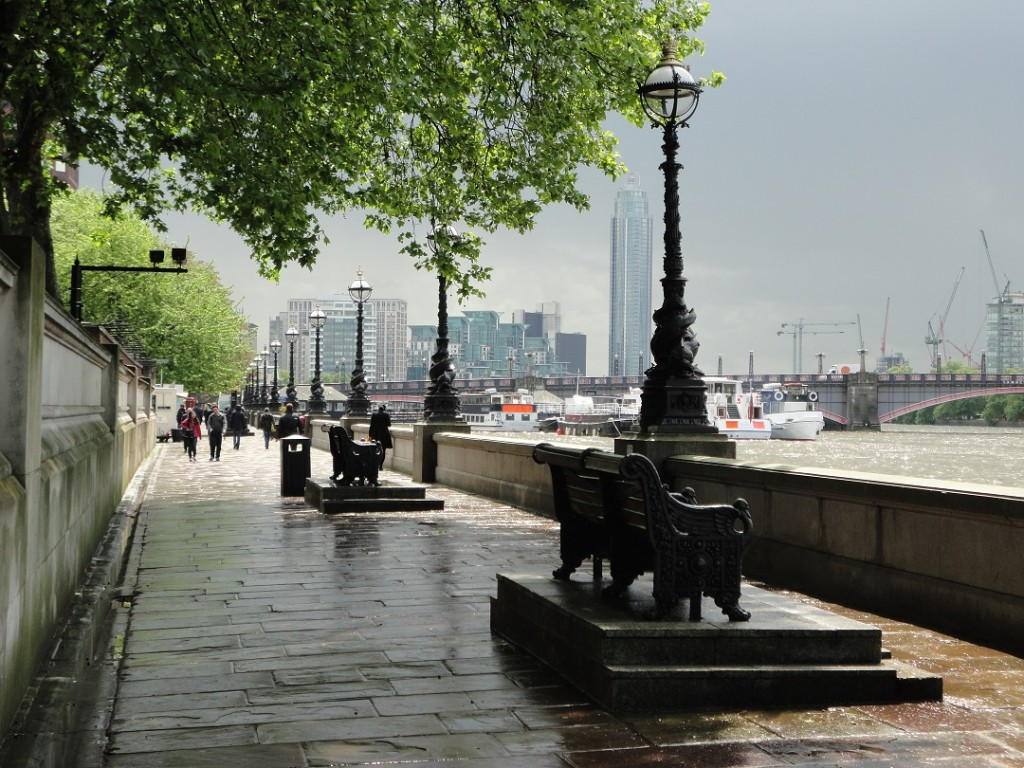 Spoiling the view? Boxy black cameras (left) monitor the Thames riverside walk by St Thomas' Hospital in central London