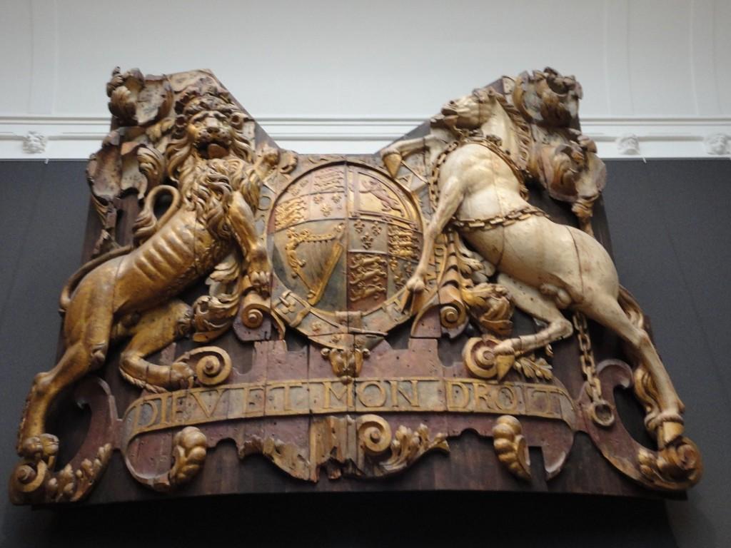 Captured British crest, on display in Room 2.15 of the Rijksmuseum, Amsterdam