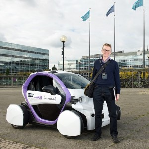 Me after a ride in an autonomous vehicle in Milton Keynes